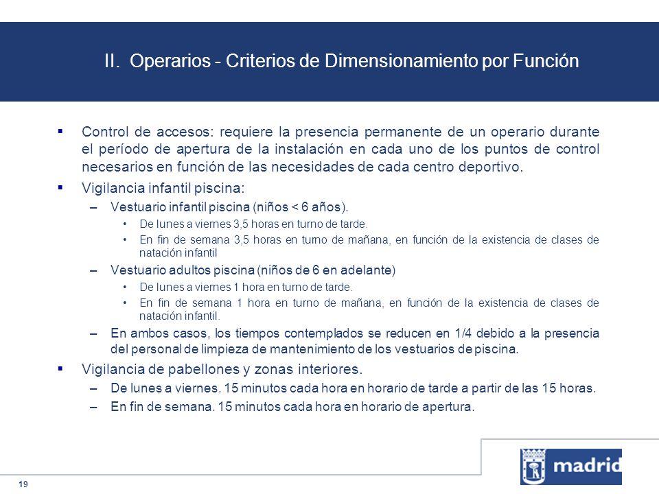 19 II. Operarios - Criterios de Dimensionamiento por Función Control de accesos: requiere la presencia permanente de un operario durante el período de