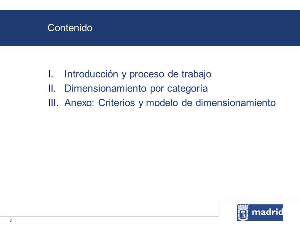 2 Contenido I.Introducción y proceso de trabajo II.Dimensionamiento por categoría III.Anexo: Criterios y modelo de dimensionamiento