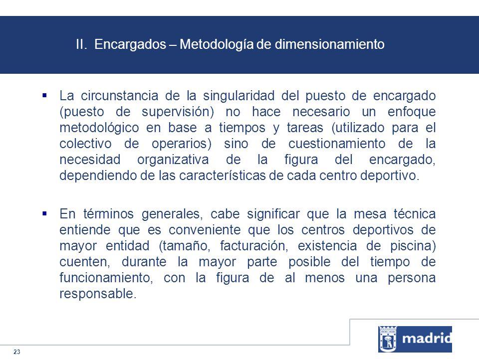 23 II. Encargados – Metodología de dimensionamiento La circunstancia de la singularidad del puesto de encargado (puesto de supervisión) no hace necesa