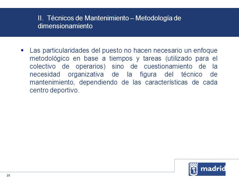 28 II. Técnicos de Mantenimiento – Metodología de dimensionamiento Las particularidades del puesto no hacen necesario un enfoque metodológico en base