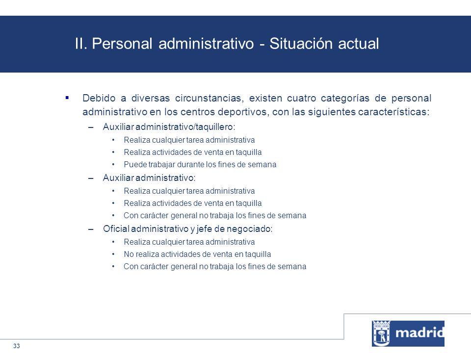 33 II. Personal administrativo - Situación actual Debido a diversas circunstancias, existen cuatro categorías de personal administrativo en los centro