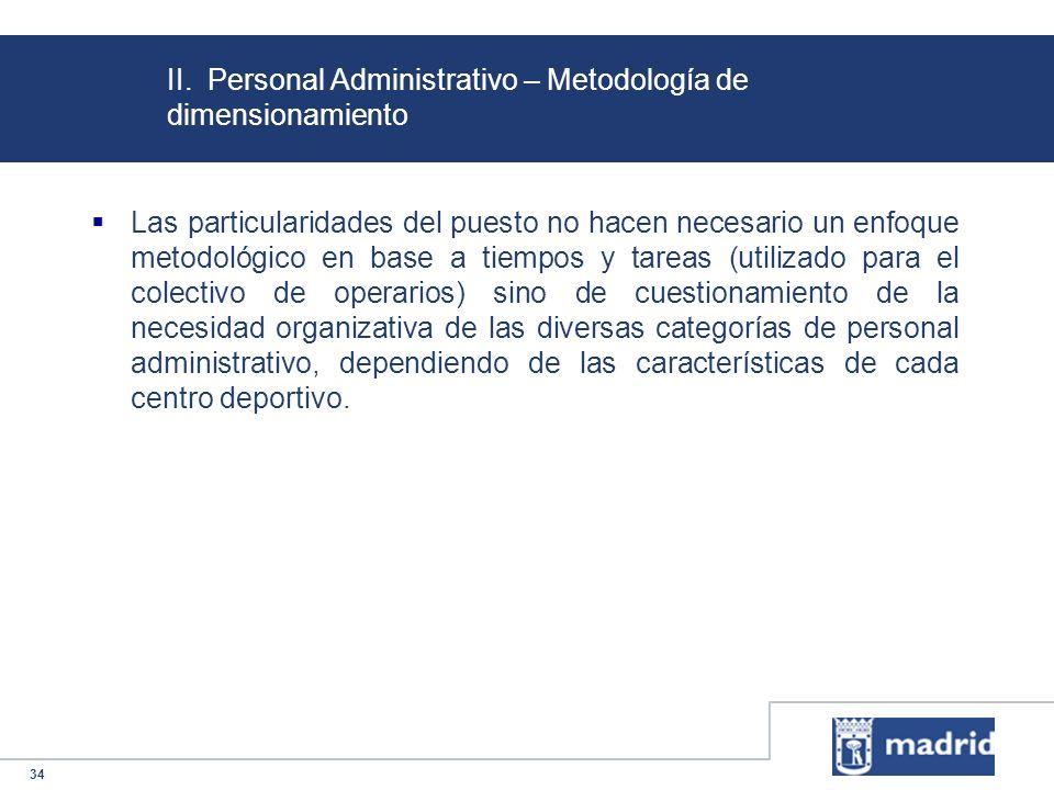 34 II. Personal Administrativo – Metodología de dimensionamiento Las particularidades del puesto no hacen necesario un enfoque metodológico en base a