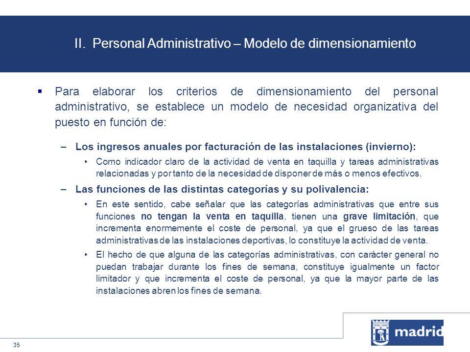 35 II. Personal Administrativo – Modelo de dimensionamiento Para elaborar los criterios de dimensionamiento del personal administrativo, se establece