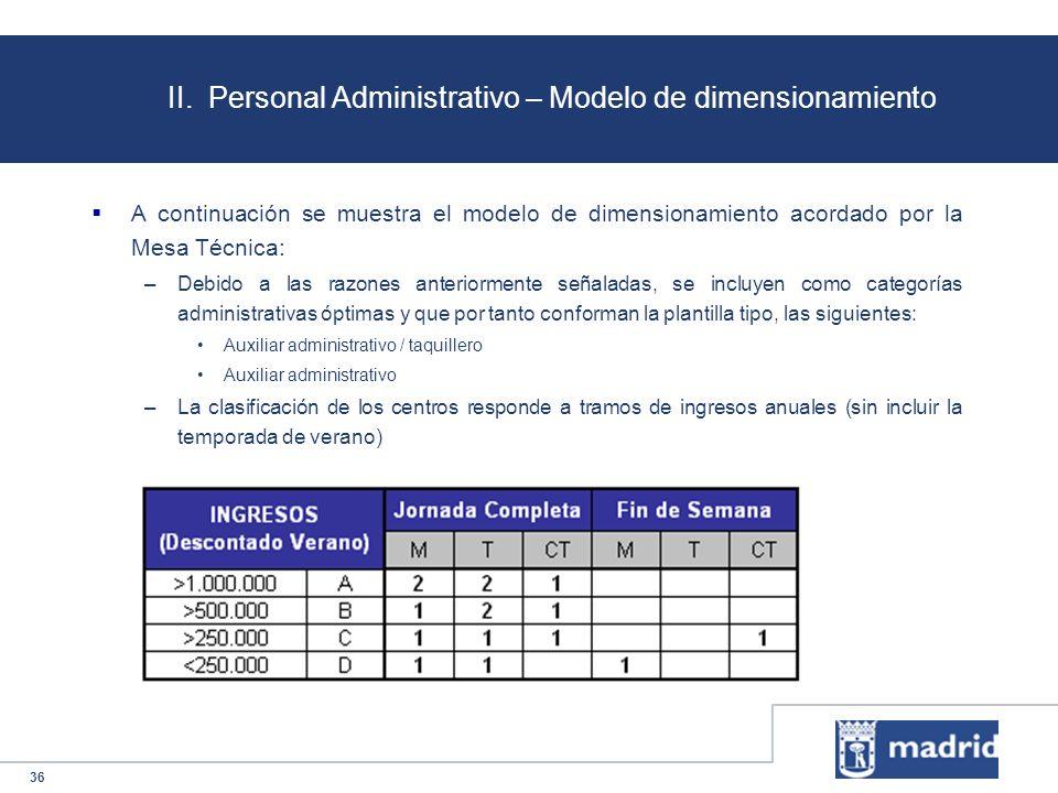 36 II. Personal Administrativo – Modelo de dimensionamiento A continuación se muestra el modelo de dimensionamiento acordado por la Mesa Técnica: –Deb