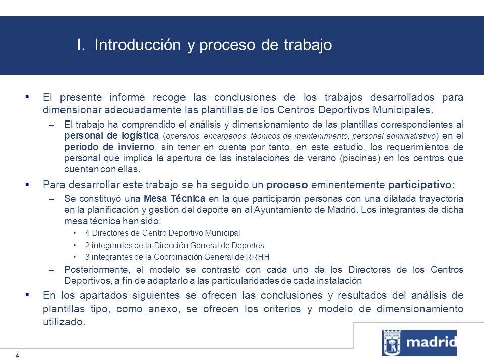 4 El presente informe recoge las conclusiones de los trabajos desarrollados para dimensionar adecuadamente las plantillas de los Centros Deportivos Mu