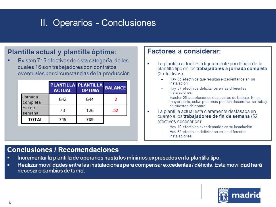 6 II. Operarios - Conclusiones Plantilla actual y plantilla óptima: Existen 715 efectivos de esta categoría, de los cuales 16 son trabajadores con con