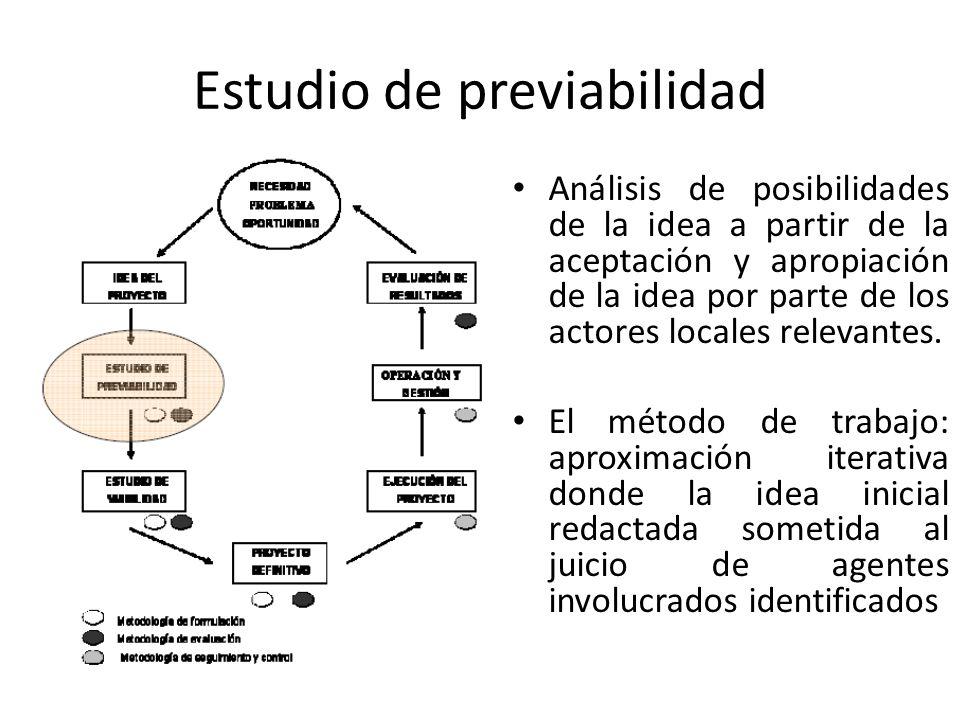 Estudio de previabilidad Análisis de posibilidades de la idea a partir de la aceptación y apropiación de la idea por parte de los actores locales rele