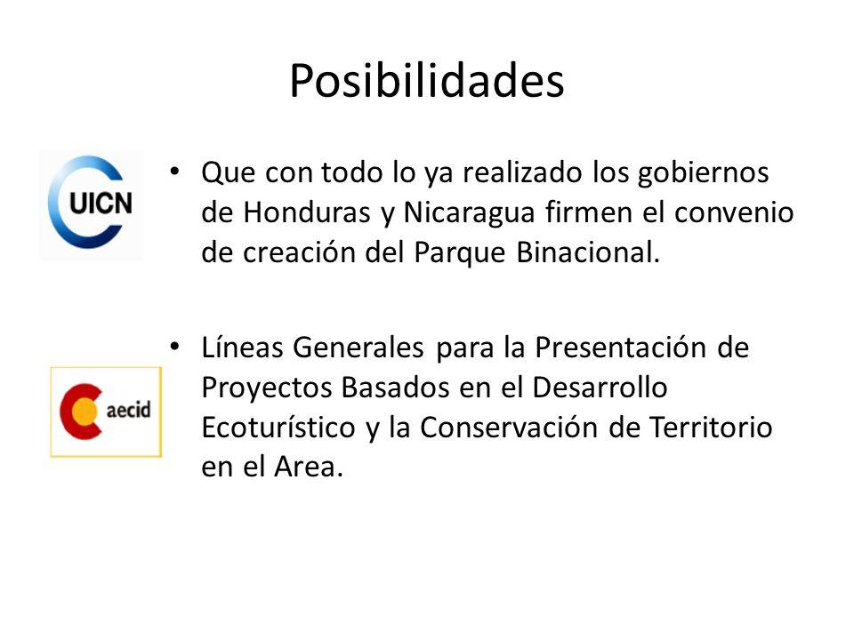 Posibilidades Que con todo lo ya realizado los gobiernos de Honduras y Nicaragua firmen el convenio de creación del Parque Binacional. Líneas Generale