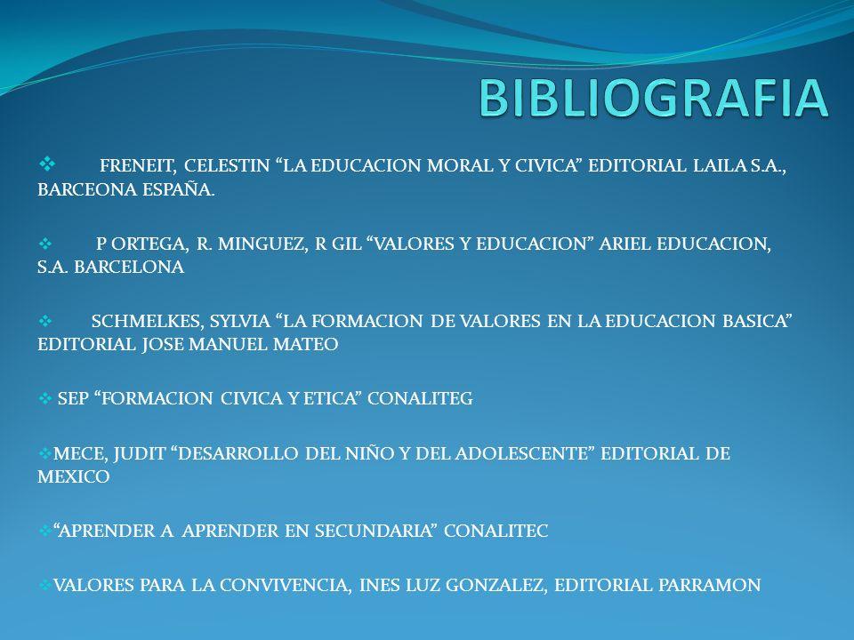 FRENEIT, CELESTIN LA EDUCACION MORAL Y CIVICA EDITORIAL LAILA S.A., BARCEONA ESPAÑA. P ORTEGA, R. MINGUEZ, R GIL VALORES Y EDUCACION ARIEL EDUCACION,