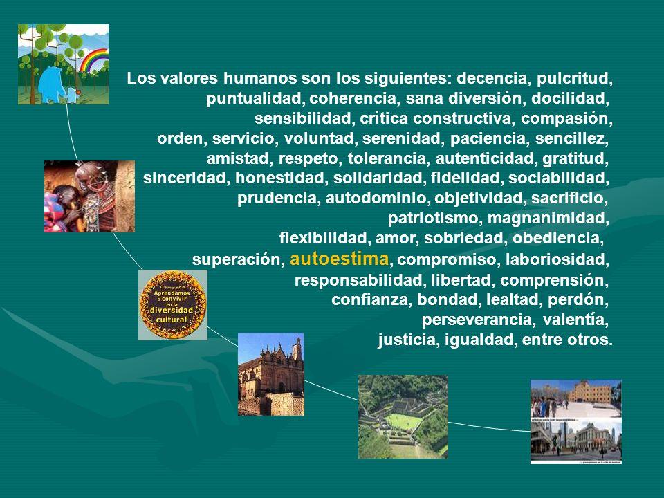 Los valores humanos son los siguientes: decencia, pulcritud, puntualidad, coherencia, sana diversión, docilidad, sensibilidad, crítica constructiva, c