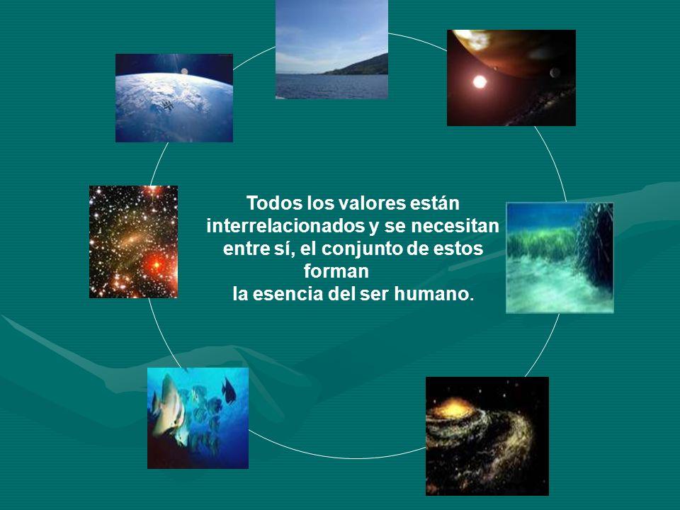 Todos los valores están interrelacionados y se necesitan entre sí, el conjunto de estos forman la esencia del ser humano.