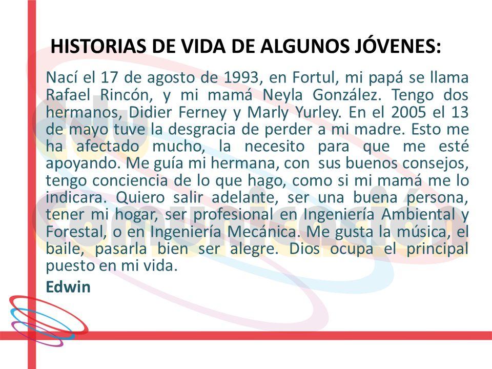 HISTORIAS DE VIDA DE ALGUNOS JÓVENES: Nací el 17 de agosto de 1993, en Fortul, mi papá se llama Rafael Rincón, y mi mamá Neyla González. Tengo dos her