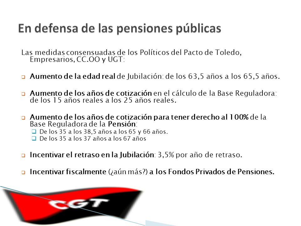 Las medidas consensuadas de los Políticos del Pacto de Toledo, Empresarios, CC.OO y UGT: Aumento de la edad real de Jubilación: de los 63,5 años a los 65,5 años.