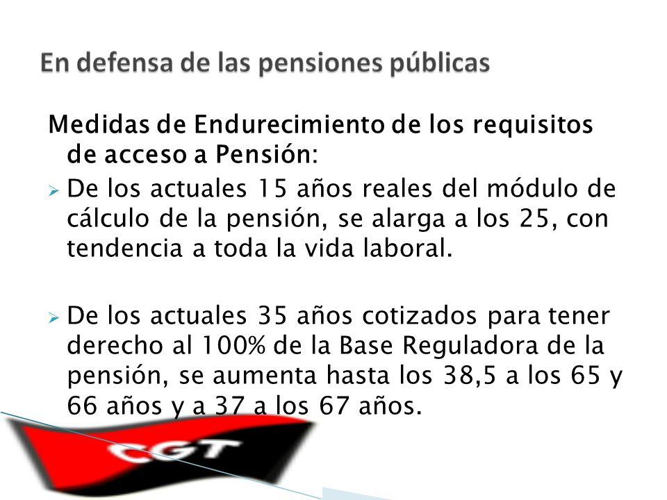 Medidas de Endurecimiento de los requisitos de acceso a Pensión: De los actuales 15 años reales del módulo de cálculo de la pensión, se alarga a los 25, con tendencia a toda la vida laboral.