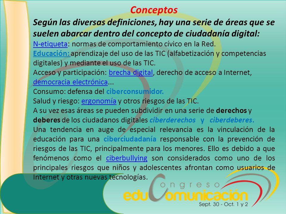 Conceptos Según las diversas definiciones, hay una serie de áreas que se suelen abarcar dentro del concepto de ciudadanía digital: N-etiquetaN-etiquet