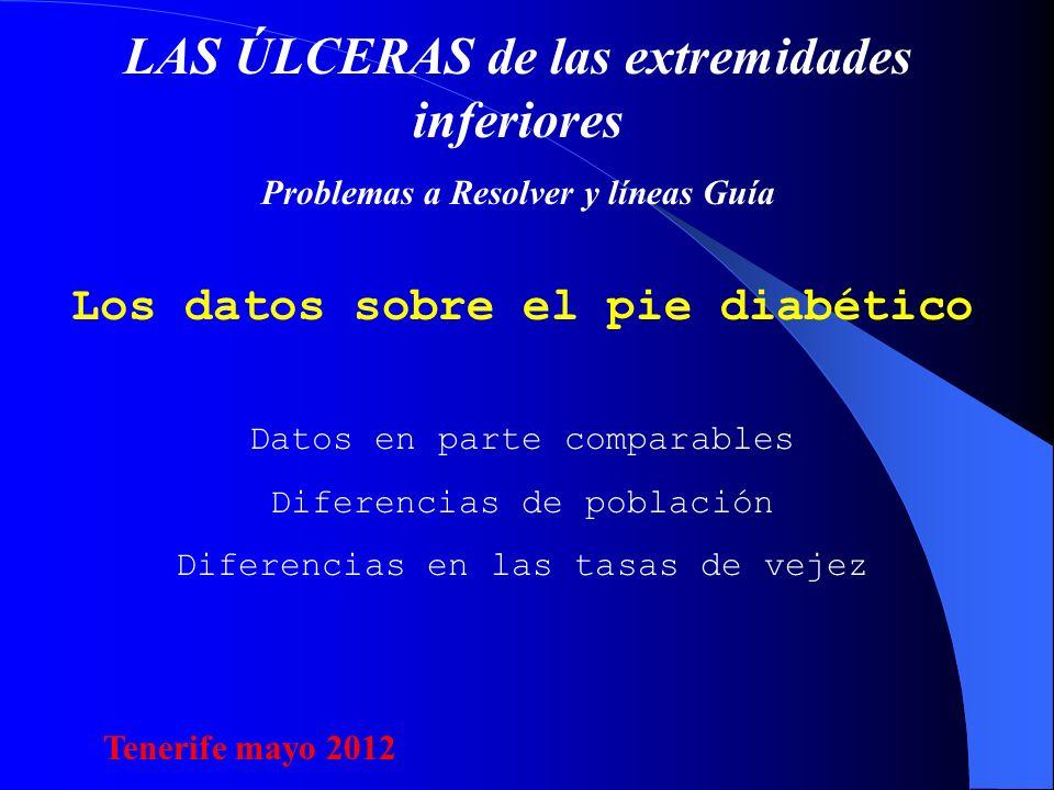 LAS ÚLCERAS de las extremidades inferiores Problemas a Resolver y líneas Guía Los datos sobre el pie diabético Datos en parte comparables Diferencias de población Diferencias en las tasas de vejez Tenerife mayo 2012