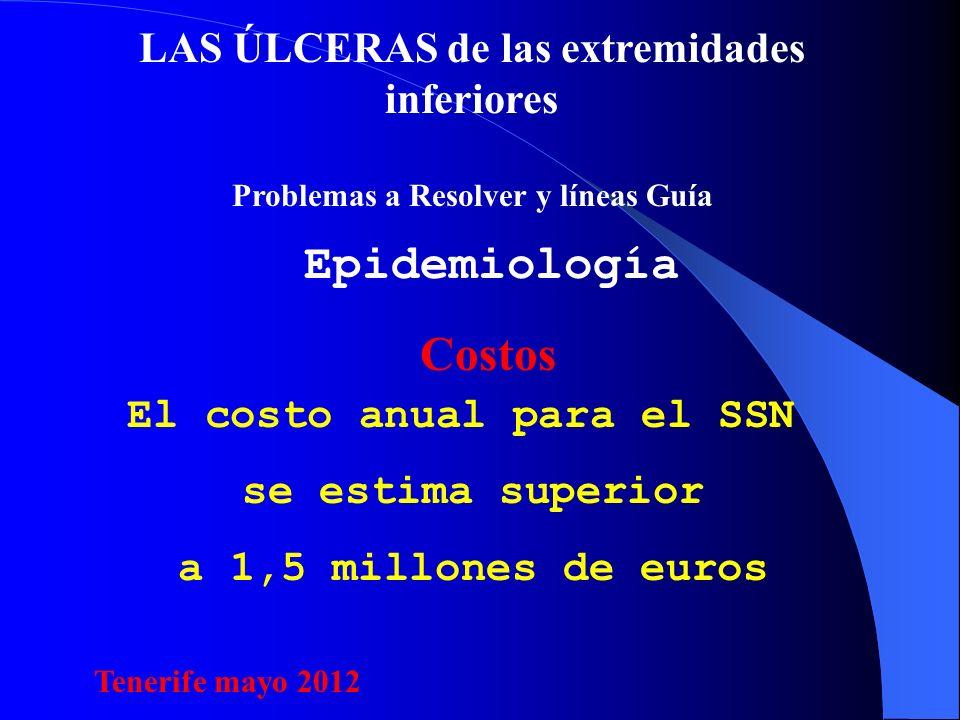 LAS ÚLCERAS de las extremidades inferiores Problemas a Resolver y líneas Guía Epidemiología El costo anual para el SSN se estima superior a 1,5 millones de euros Costos Tenerife mayo 2012