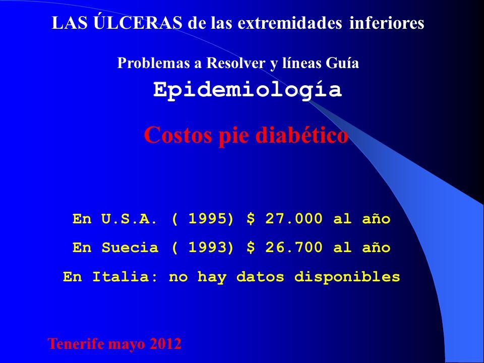 LAS ÚLCERAS de las extremidades inferiores Problemas a Resolver y líneas Guía Epidemiología En U.S.A.