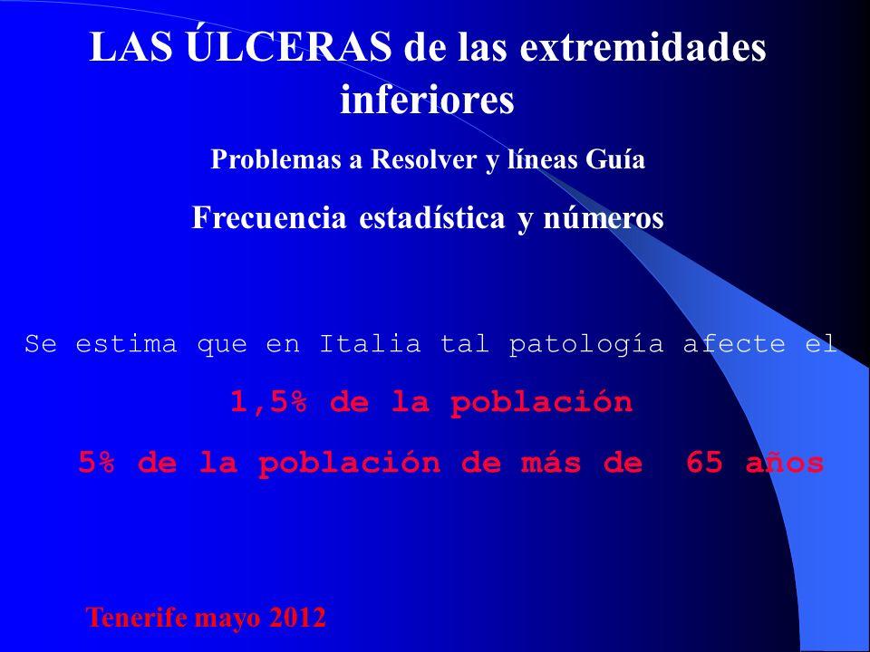 LAS ÚLCERAS de las extremidades inferiores Problemas a Resolver y líneas Guía Frecuencia estadística y números Se estima que en Italia tal patología afecte el 1,5% de la población 5% de la población de más de 65 años Tenerife mayo 2012