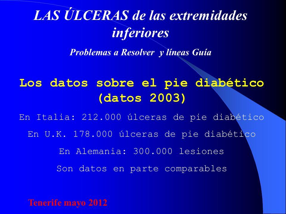 LAS ÚLCERAS de las extremidades inferiores Problemas a Resolver y líneas Guía Los datos sobre el pie diabético (datos 2003) En Italia: 212.000 úlceras de pie diabético En U.K.