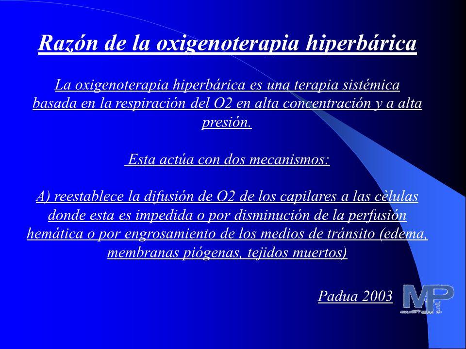 Razón de la oxigenoterapia hiperbárica La oxigenoterapia hiperbárica es una terapia sistémica basada en la respiración del O2 a alta presión en las re