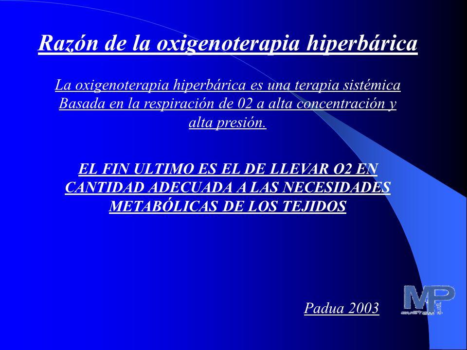 Razón de la oxigenoterapia hiperbárica La oxigenoterapia hiperbárica es una terapia sistémica basada en la respiración del O2 en alta concentración y