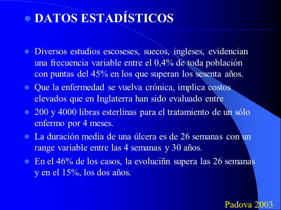 Conclusiones (problemas) El uso de la cámara con ozono plantea sin embargo algunos problemas: 1) Costos muy elevados 2) Uso problemático a domicilio 3) Creación de centros adecuados Padua 2003