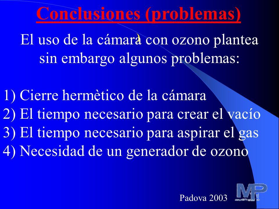 Conclusiones (hipótesis) La mayor eficacia de la cámara con ozono puede deberse sea al efecto intrínseco del ozono, sea al control de parámetros impor