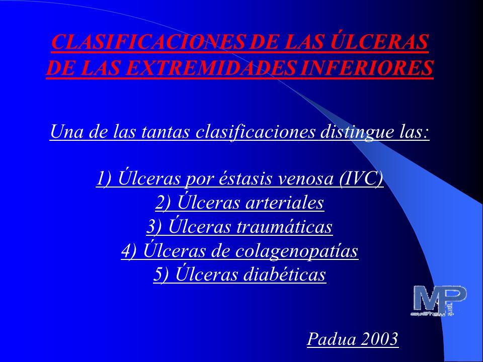 CLASIFICACIONES DE LAS ÚLCERAS DE LAS EXTREMIDADES INFERIORES Una de las tantas clasificaciones distingue las: 1) Úlceras por éstasis venosa (IVC) 2) Úlceras arteriales 3) Úlceras traumáticas 4) Úlceras de colagenopatías 5) Úlceras diabéticas Padua 2003