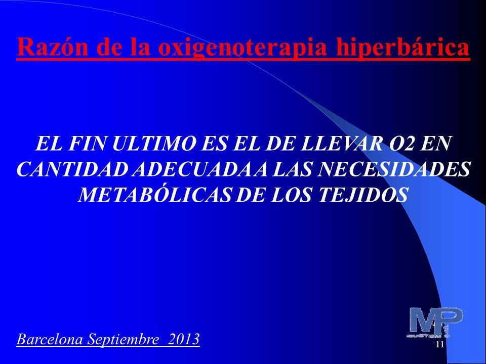 11 Razón de la oxigenoterapia hiperbárica EL FIN ULTIMO ES EL DE LLEVAR O2 EN CANTIDAD ADECUADA A LAS NECESIDADES METABÓLICAS DE LOS TEJIDOS Barcelona