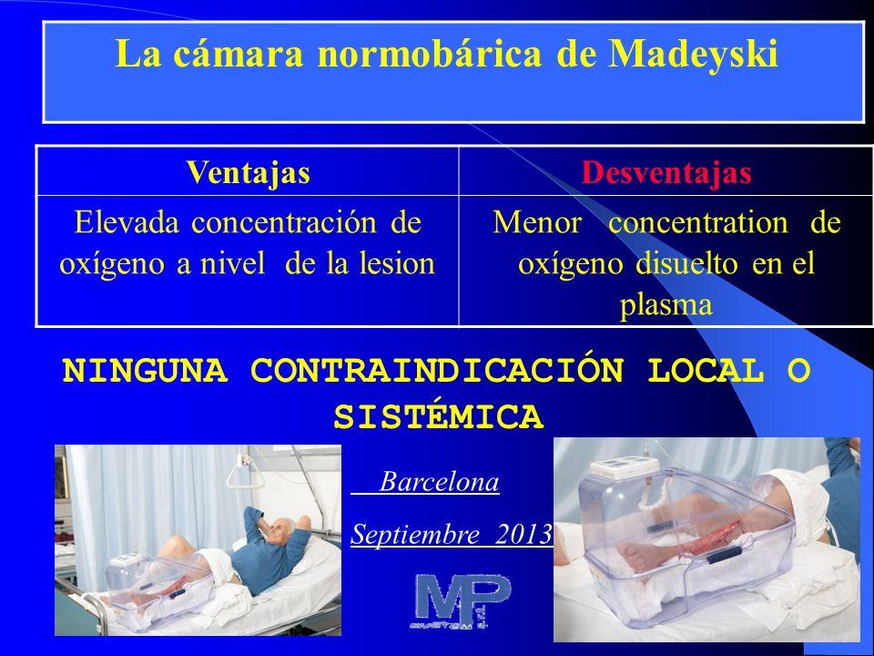 13 VentajasDesventajas Elevada concentración de oxígeno a nivel de la lesion Menor concentration de oxígeno disuelto en el plasma NINGUNA CONTRAINDICA