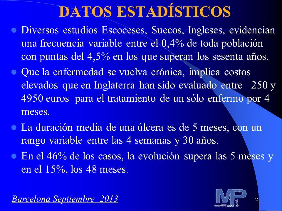 3 DATOS ESTADÍSTICOS En Italia el 1-3% de la población, (con puntas de 5%) en sujetos con más de 60 años, presenta: – Lesiones en las extremidades inferiores.