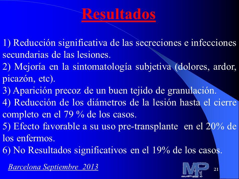21 Resultados 1) Reducción significativa de las secreciones e infecciones secundarias de las lesiones. 2) Mejoría en la sintomatología subjetiva (dolo
