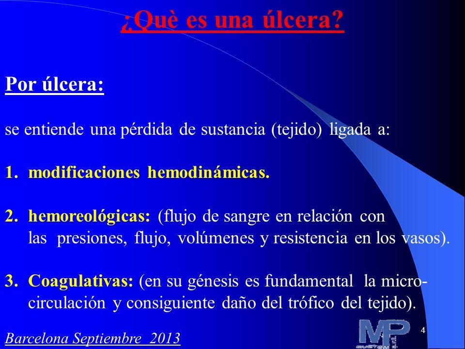 5 Clasificacion de las ulceras Una de las tantas clasificaciones distingue las: 1) Úlceras por éstasis venosa (IVC) 2) Úlceras arteriales 3) Úlceras traumáticas 4) Úlceras por colagenopatías 5) Úlceras diabéticas 6) Úlceras neoplásicas Barcelona Septiembre 2013