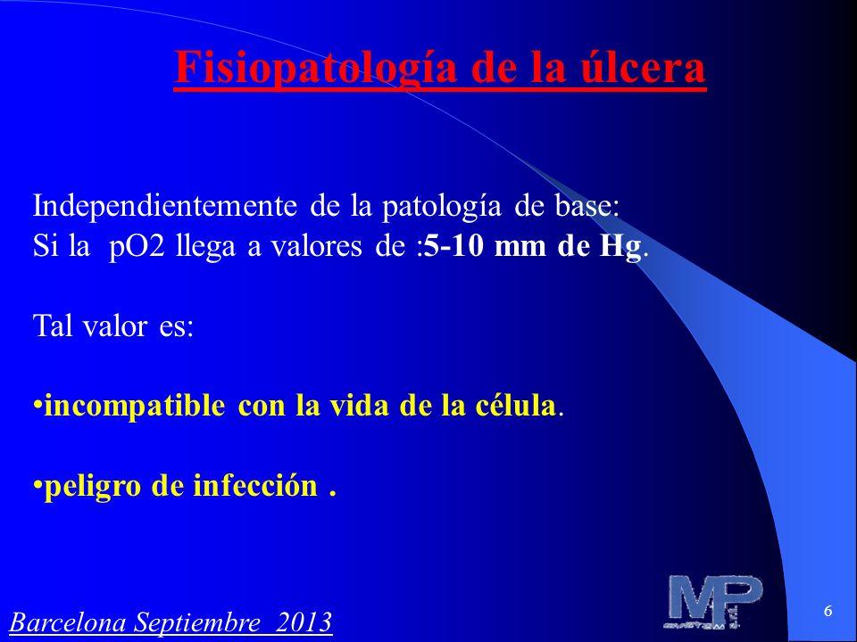 6 Fisiopatología de la úlcera Independientemente de la patología de base: Si la pO2 llega a valores de :5-10 mm de Hg. Tal valor es: incompatible con