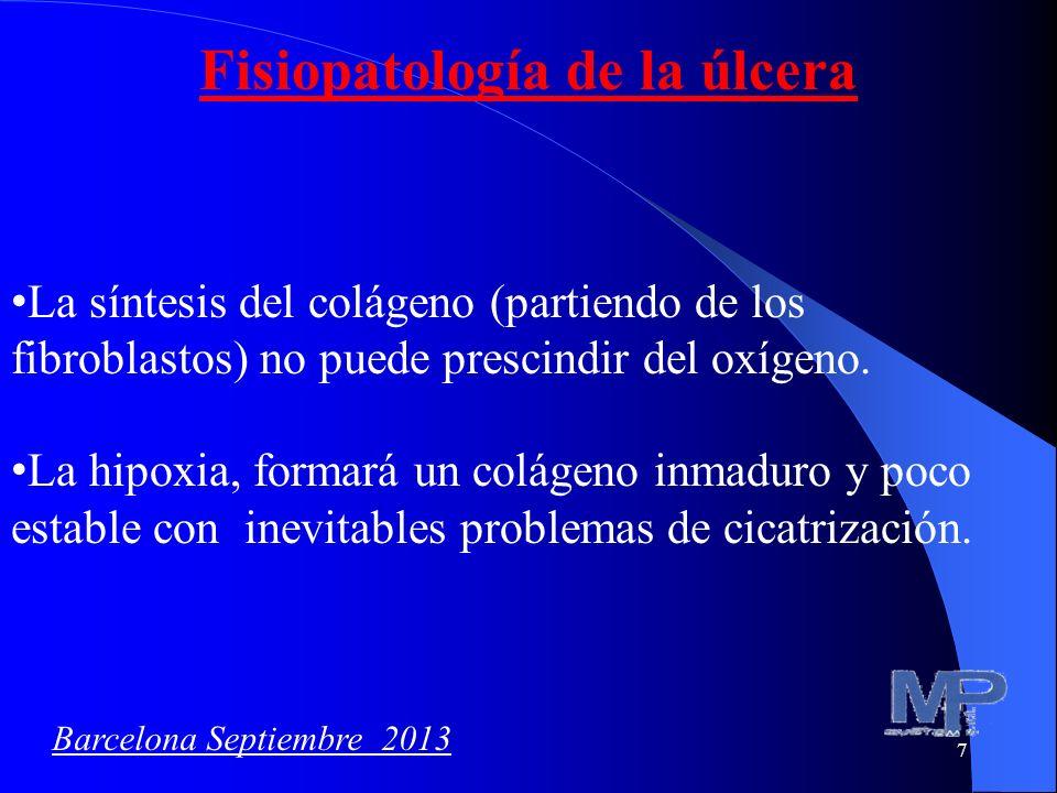 7 Fisiopatología de la úlcera La síntesis del colágeno (partiendo de los fibroblastos) no puede prescindir del oxígeno. La hipoxia, formará un colágen