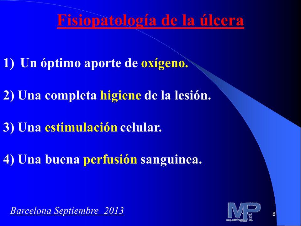 8 Fisiopatología de la úlcera 1)Un óptimo aporte de oxígeno. 2) Una completa higiene de la lesión. 3) Una estimulación celular. 4) Una buena perfusión