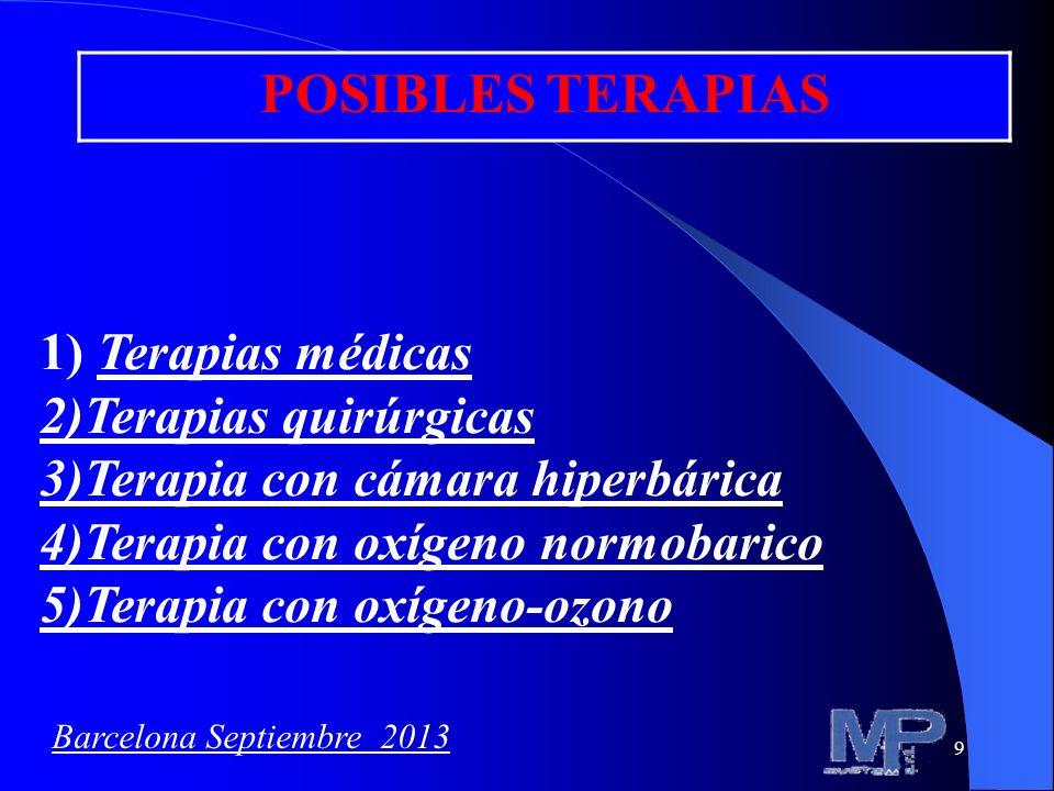 9 POSIBLES TERAPIAS 1) Terapias médicas 2)Terapias quirúrgicas 3)Terapia con cámara hiperbárica 4)Terapia con oxígeno normobarico 5)Terapia con oxígen