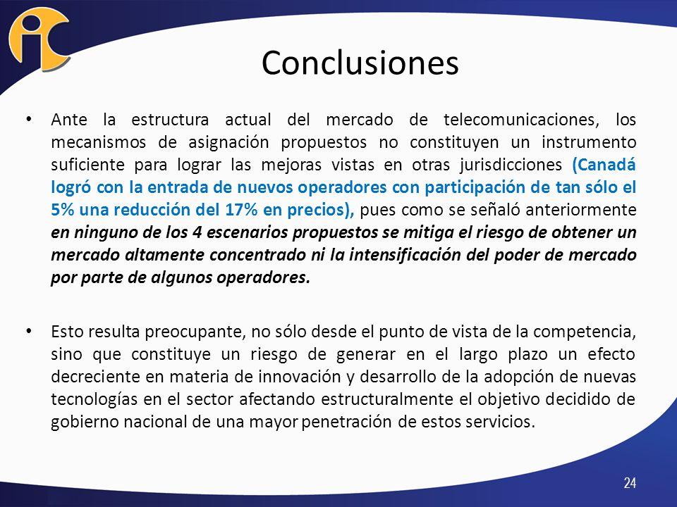 Conclusiones Ante la estructura actual del mercado de telecomunicaciones, los mecanismos de asignación propuestos no constituyen un instrumento sufici