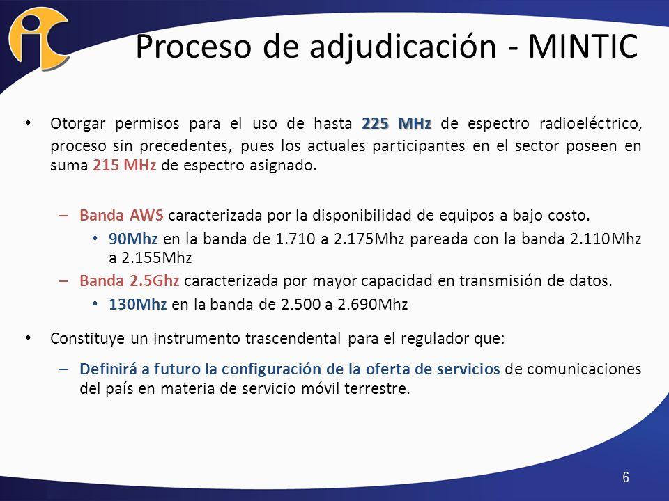 17 Escenario 4 (Segmento AWS y 2.5GHz con reserva): Se subasta el espacio de 90Mhz en la banda AWS con reserva de 30Mhz para nuevos entrantes, y el espacio de 130Mhz en la banda de 2.5Ghz con un segmento reservado de 40Mhz.