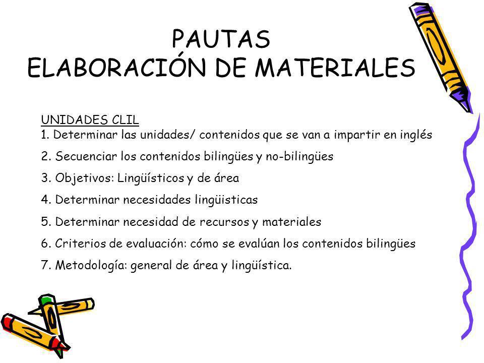 PAUTAS ELABORACIÓN DE MATERIALES UNIDADES CLIL 1. Determinar las unidades/ contenidos que se van a impartir en inglés 2. Secuenciar los contenidos bil