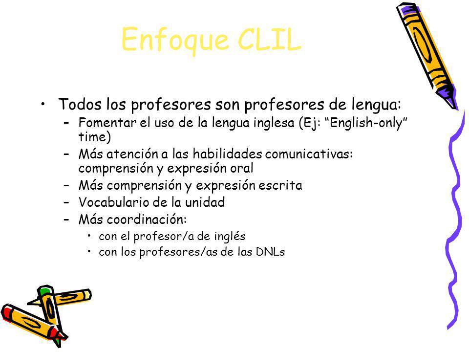 Enfoque CLIL Todos los profesores son profesores de lengua: –Fomentar el uso de la lengua inglesa (Ej: English-only time) –Más atención a las habilida