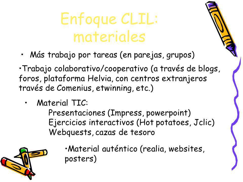 Enfoque CLIL: materiales Más trabajo por tareas (en parejas, grupos) Trabajo colaborativo/cooperativo (a través de blogs, foros, plataforma Helvia, co