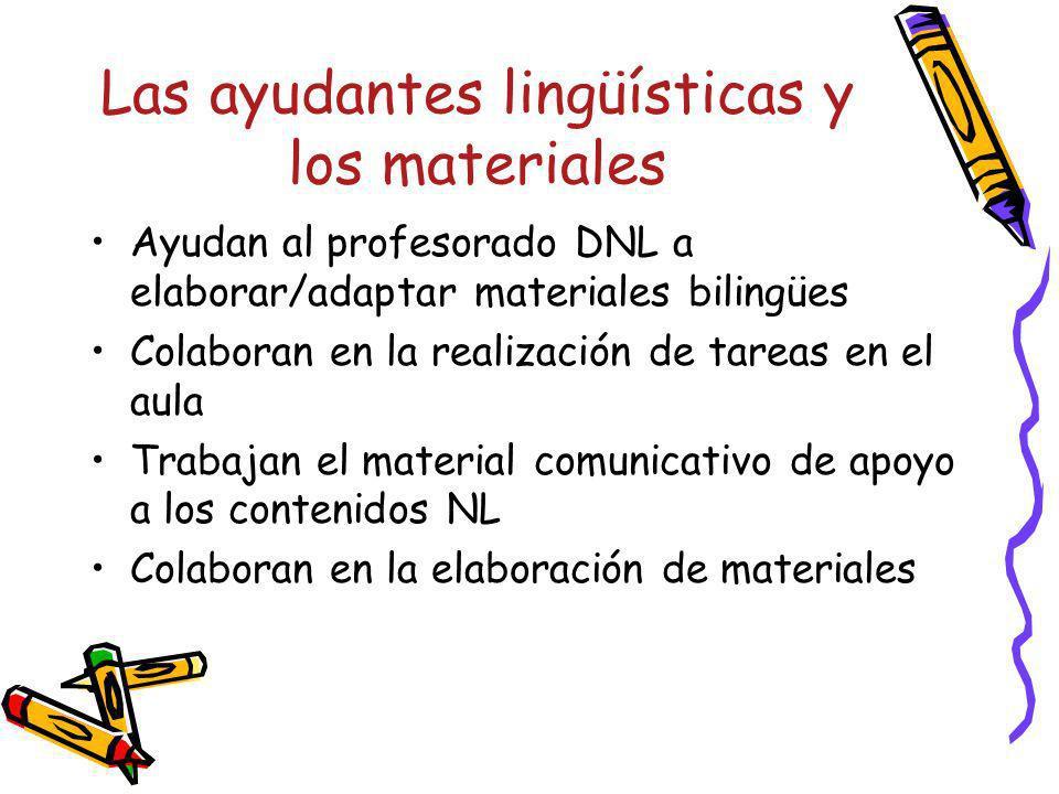Las ayudantes lingüísticas y los materiales Ayudan al profesorado DNL a elaborar/adaptar materiales bilingües Colaboran en la realización de tareas en