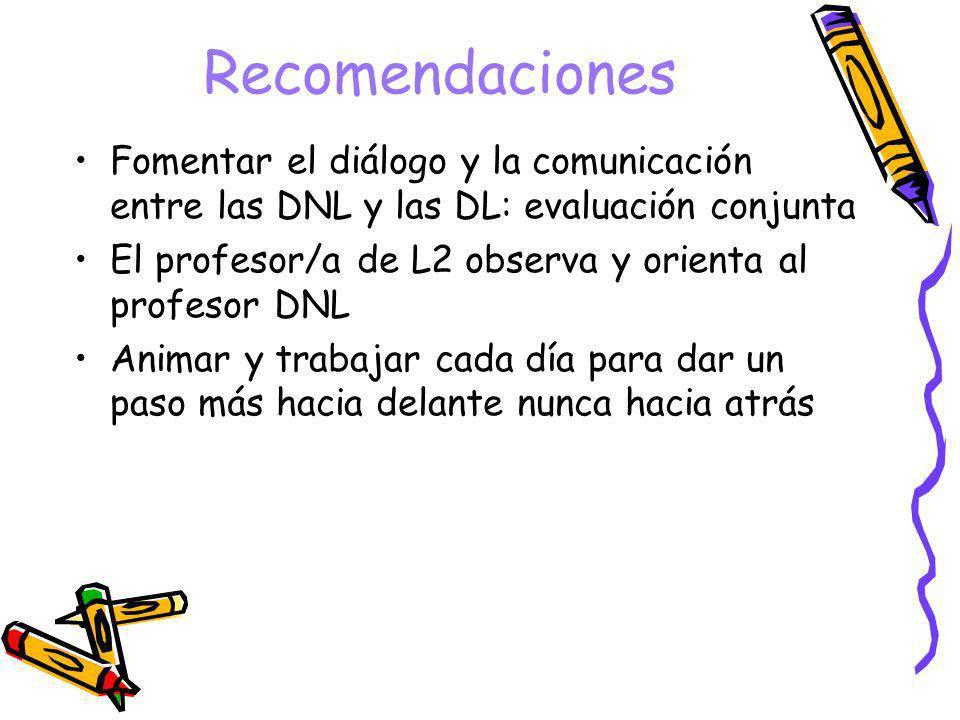 Recomendaciones Fomentar el diálogo y la comunicación entre las DNL y las DL: evaluación conjunta El profesor/a de L2 observa y orienta al profesor DN