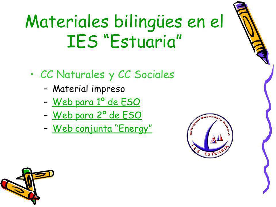 Materiales bilingües en el IES Estuaria CC Naturales y CC Sociales –Material impreso –Web para 1º de ESOWeb para 1º de ESO –Web para 2º de ESOWeb para