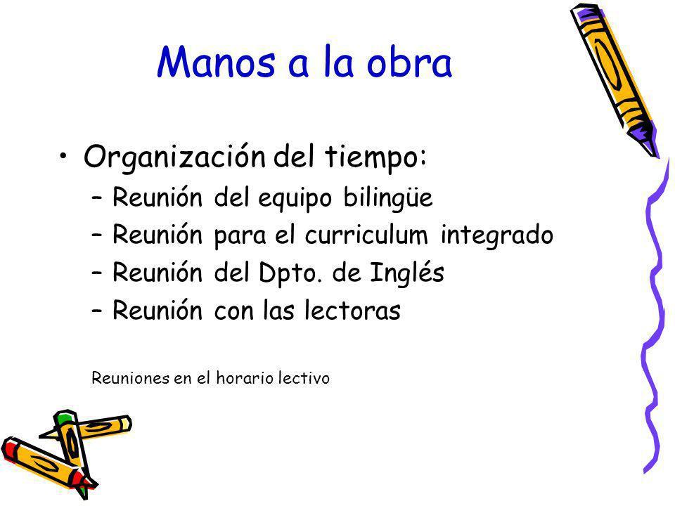 Manos a la obra Organización del tiempo: –Reunión del equipo bilingüe –Reunión para el curriculum integrado –Reunión del Dpto. de Inglés –Reunión con