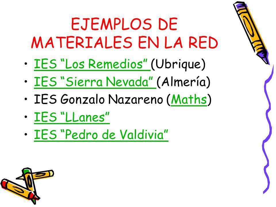 EJEMPLOS DE MATERIALES EN LA RED IES Los Remedios (Ubrique)IES Los Remedios IES Sierra Nevada (Almería)IES Sierra Nevada IES Gonzalo Nazareno (Maths)M