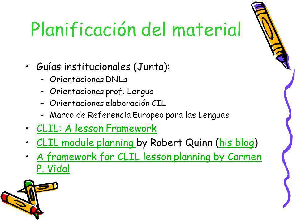 Planificación del material Guías institucionales (Junta): –Orientaciones DNLs –Orientaciones prof. Lengua –Orientaciones elaboración CIL –Marco de Ref