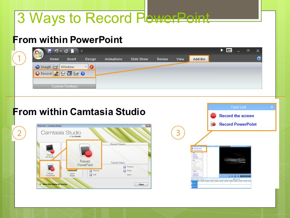 Setting Up for Recording Begins recording your PowerPoint Presentation.
